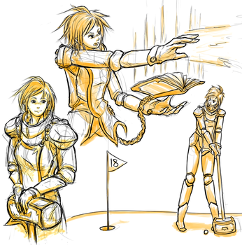 Female Paladin Sketches by Sarcallow