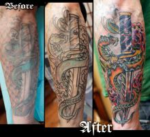 Dagger and Snake Re-Work Tattoo by seanspoison