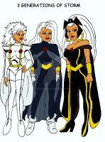 3 generations of Storm by xero87