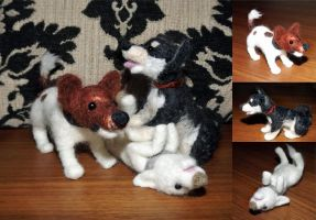 Felted Puppy Dogs by Kinky-chichi