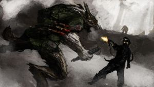 Allied Werewolf v. Occult Nazi by kill-stereo