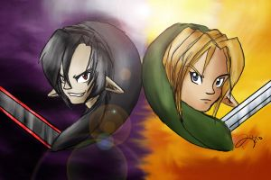 Link and Dark Link by October-Shadows