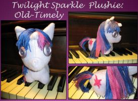Twilight Sparkle Plushie: Old-Timely Style by craftysorceress