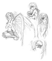 Sad girls and wings by PrevaricatedWings