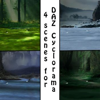 Four Scenes for DAZ's Cyclorama by quirkyblonde