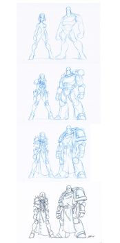 Space Marine and Sister drawing process by NachoMon