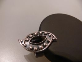 patinated silver ring - onyx by irineja