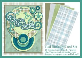 283 Teal Birthday Card Set by Tigers-stock