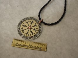 Brass and Nickel-Silver Vegvisir Pendant by creativeetching