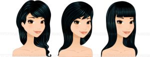 Long Black Hairstyles set by Melisendevector