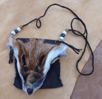 Fox face necklace pouch by lupagreenwolf