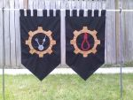 steampunk themed flags by EmeraldFoxSeamstress