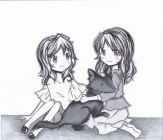 Twila and Astra with a Wolf by MikiClover
