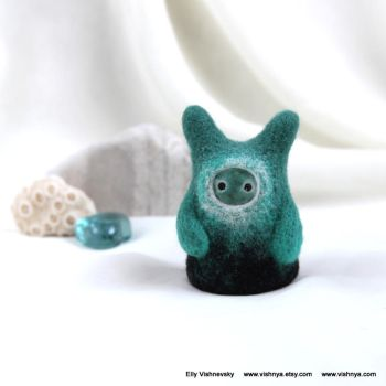 Needle felt Emerald Small kindly Spirit by vavaleff