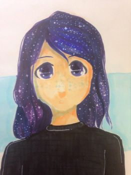A girl with galaxy-colored hair by CookiesWithCats