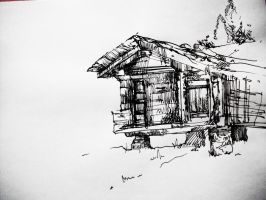 Mountain Hut Sketch by werrs