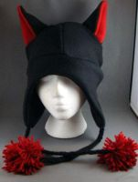 Black Cat with Red Ears and Red Pom Poms by wikiwisemandotcom