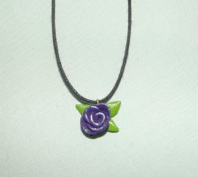 Purple rose necklace by MeticulousBlue