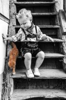 boy with red kitten by brijome