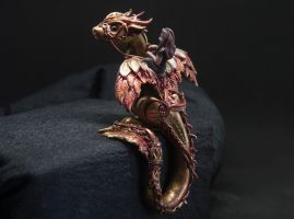 Jikan - Steampunk bronze and copper dragon figurin by Akalewia
