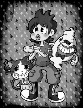 Keita, Whisper and Jibanyan Old Cartoon Style by ObscureSaku