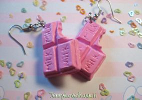 Strawberry milk earrings by JennyLovesKawaii