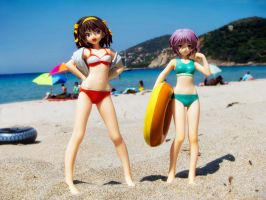 Haruhi and Yuki on the Beach by Einheit00