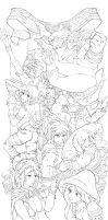 Line Art - Breath of Fire II: Party by KeungLee