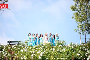 wedding party bride and her girls posing by wilsontang