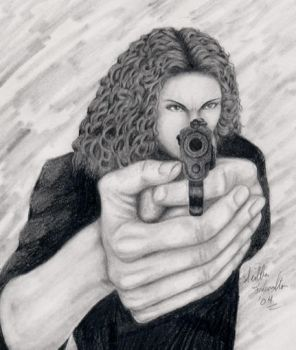 Anita with a gun by FalconStorm
