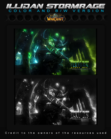 Illidan Stormrage Tag / Color and BW versions by Kypexfly