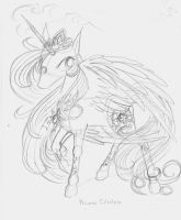 Princess Celestia Scribble by Winged-Dragoness
