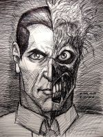 Two-Face (pen sketch) by myconius
