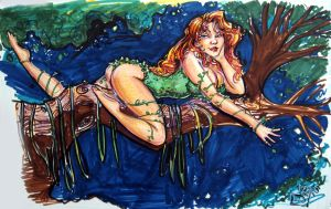 Poison Ivy in markers by ComfortLove
