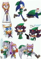 Sonic Zelda sketches by Cometshina