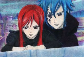 Erza and Jellal by Gin-va