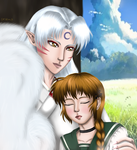 Umi's nap with Sesshomaru (request) by Cre8Eva