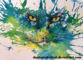 Watercolor - Cat face by DontSpeakSilent