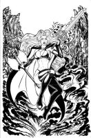 LADY DEATH PINUP INK ART by AHochrein2010