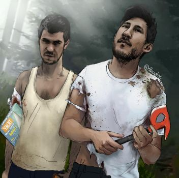 Markiplier and JackSepticEye (The Forest) by Shuploc