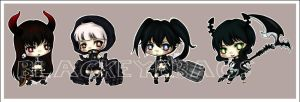 Black Rock Shooter Keychains by blackeyebags