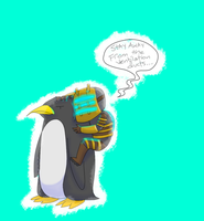 Isaac Clarke Riding A Penguin by caboosemcgrief