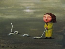 Grandma and earthworm by Wersalka