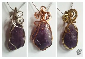 Nightfall - Wire Wrapped Amethyst Pendants by Drakarus