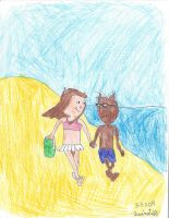 Alexandra and Joshua walking on the beach by Quinstiff