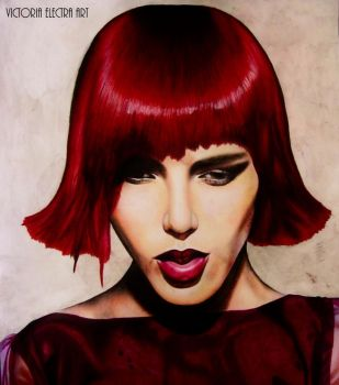 Girl with red hair by VictoriaElectra