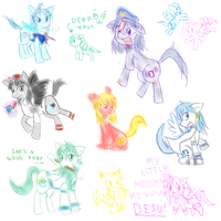 FREAKING TOUHOU PONIES DOODLES by LunachiMelochi