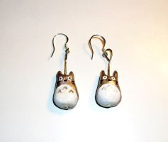 Totoro Ghibli Earrings Selfmade Clay by kratosisy