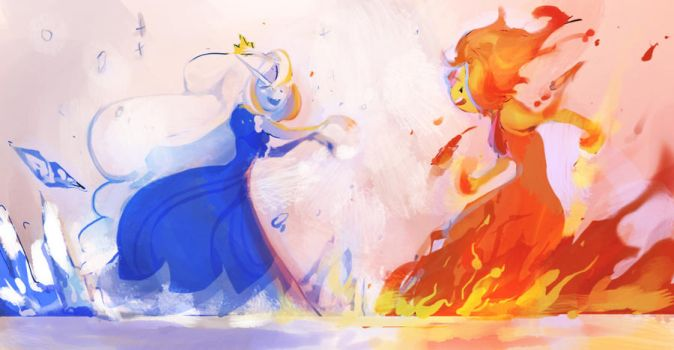 Ice queen vs Flame Princess by gyehu