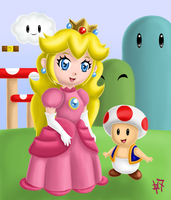 Chibi Princess Peach and Toad by Heroine-of-Time-7